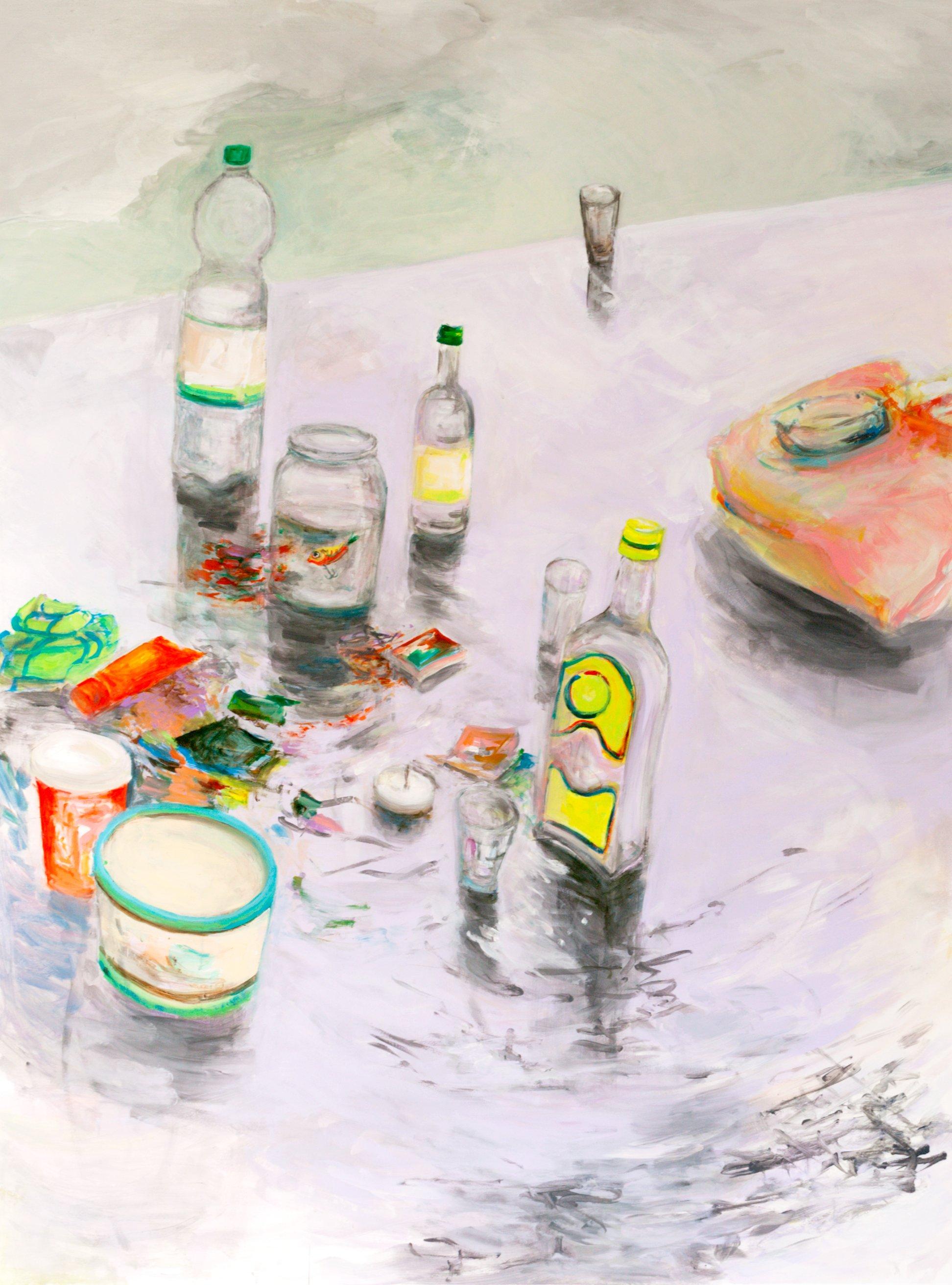 _der froehliche Gott_, Acryl auf Papier, 127 cm x 170 cm, 2013